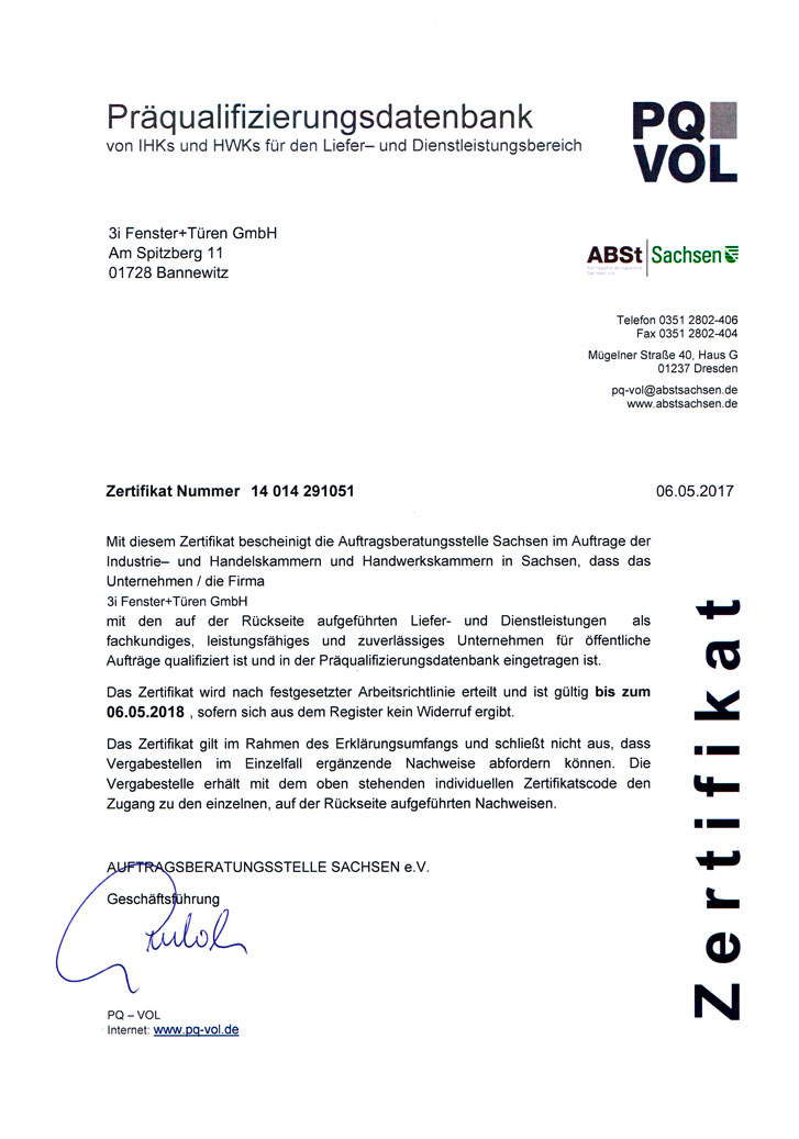 PQ-VOL Zertifikat 2017 der Firma 3i Fenster & Türen