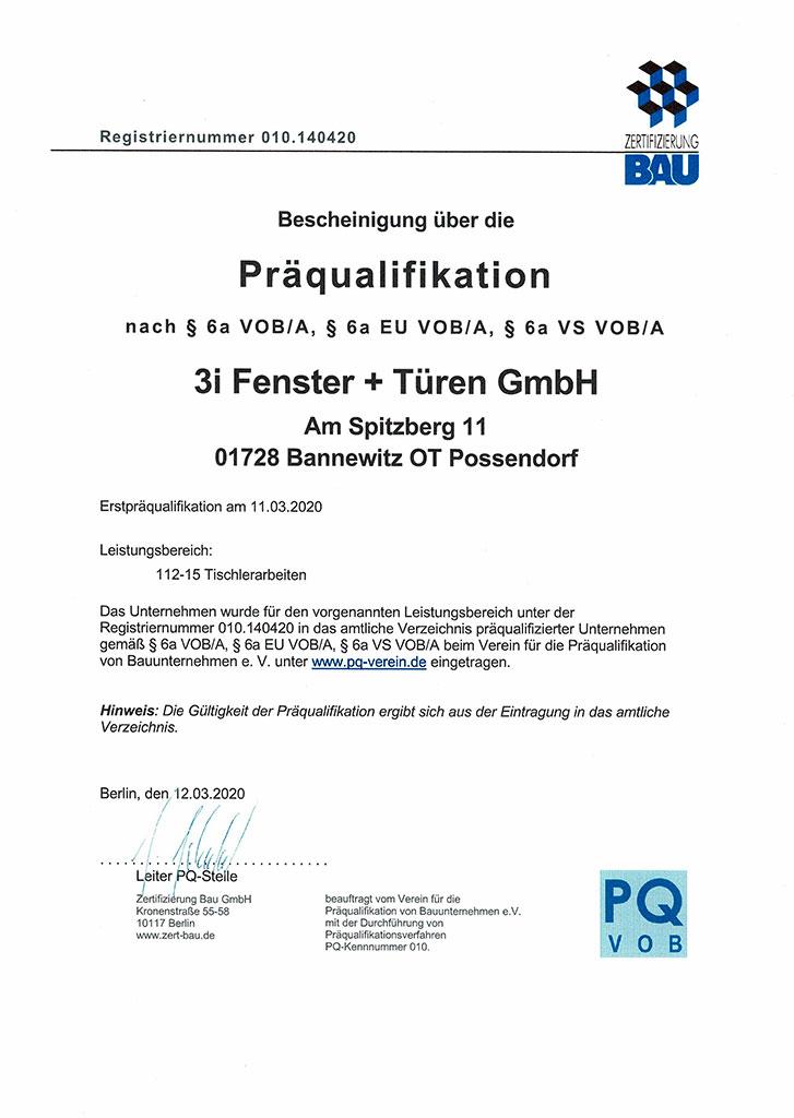 AVPQ Zertifikat 2018 der Firma 3i Fenster & Türen