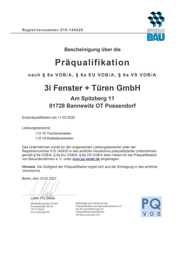 Bescheinigung über die PräquaIifikation nach § 6a VOB/A, § 6a EU VOB/A, § 6a VS VOB/A der Firma 3i Fenster + Türen GmbH